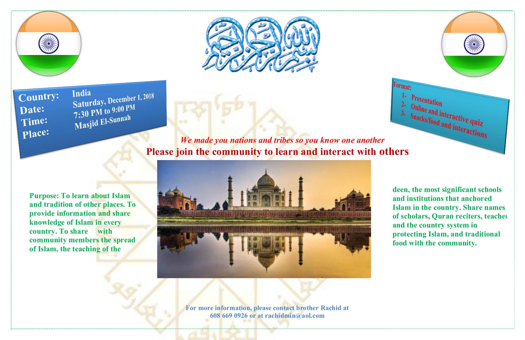 Cultural Appreciation - India @ Masjid Us-Sunnah | Madison | Wisconsin | United States